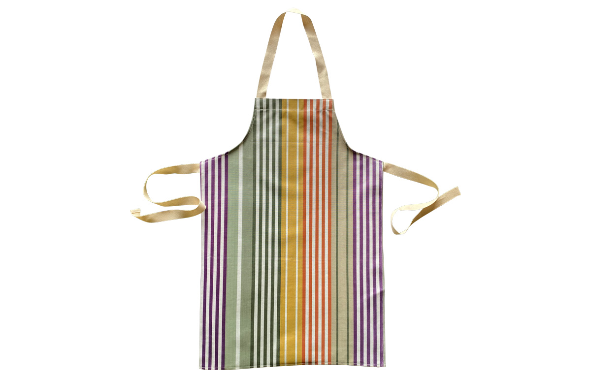 Striped PVC Kids Aprons | Oilcloth Aprons for Children sage green, purple, mustard