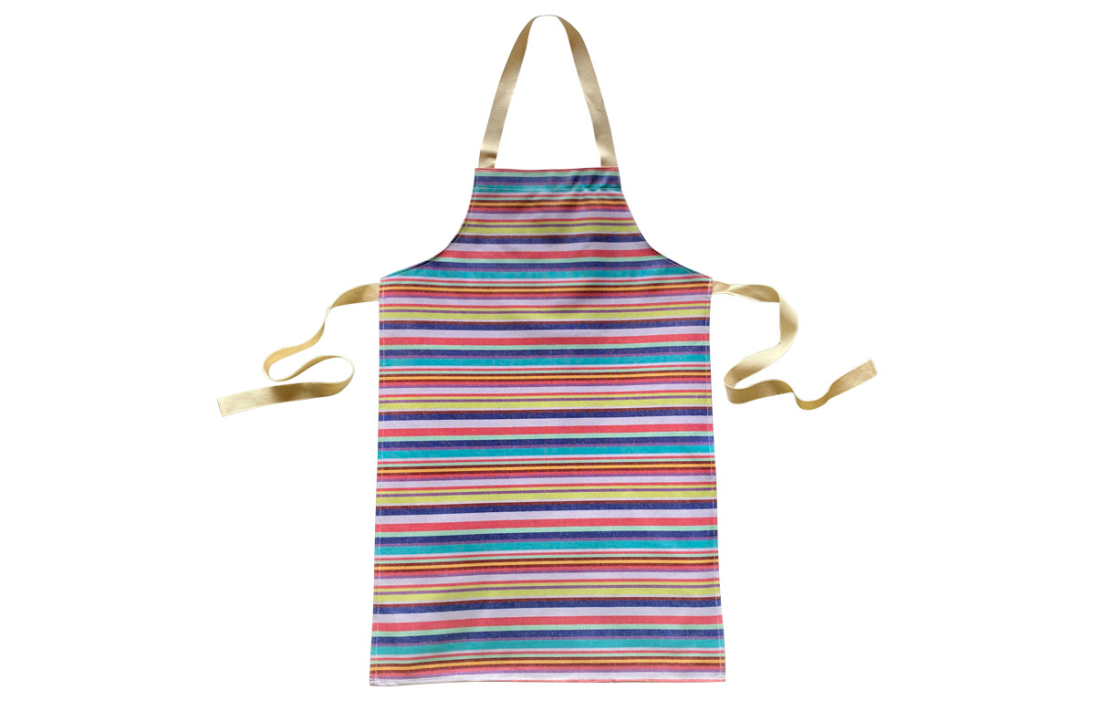 Lavender Striped PVC Kids Aprons | Oilcloth Aprons for Children Lavender  Turquoise  Red  Stripes
