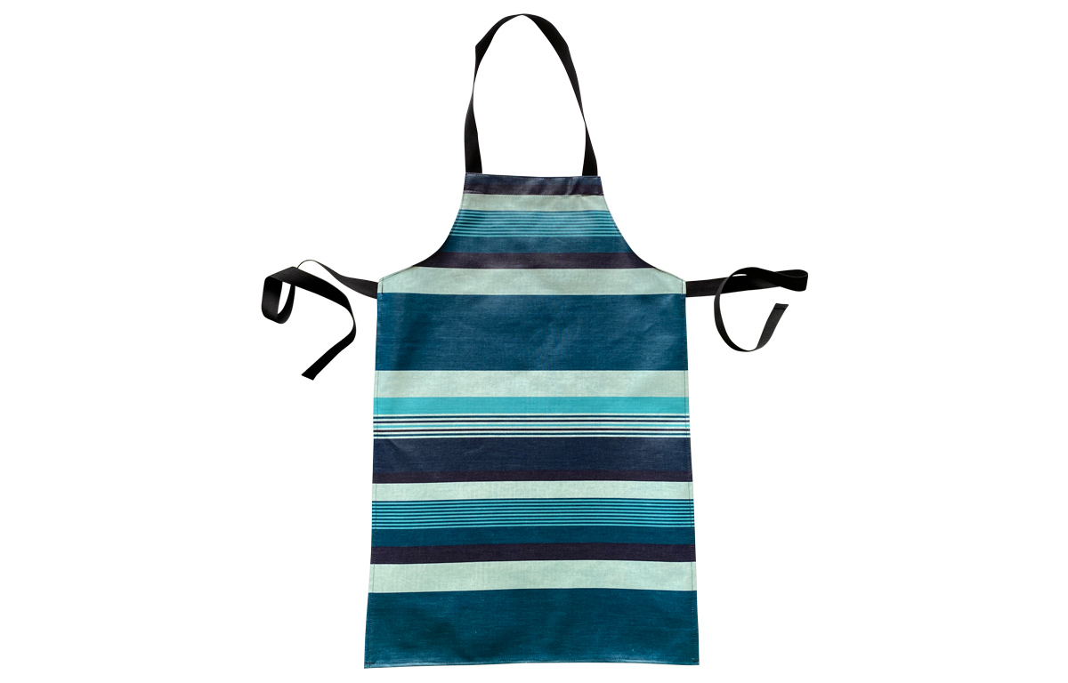 Teal Striped PVC Kids Aprons | Oilcloth Aprons for Children