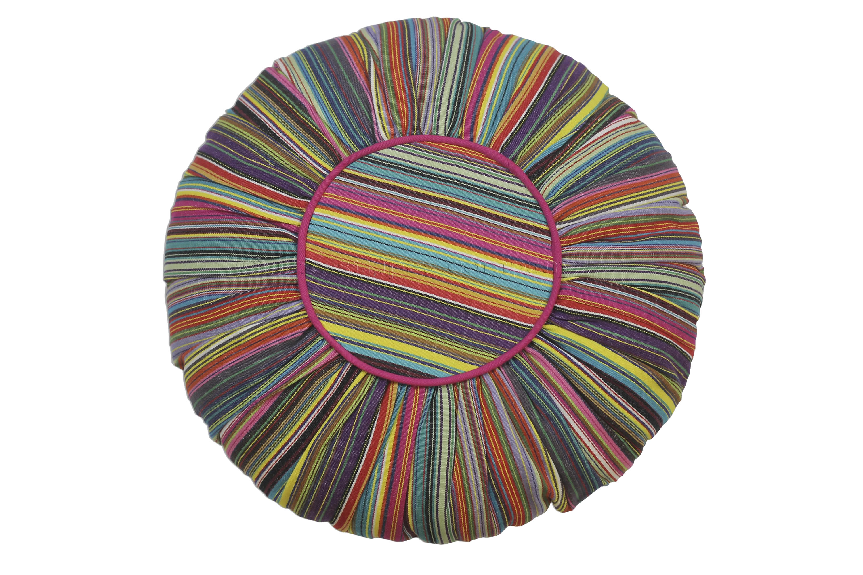 Round Gathered Cushions | Multi Stripe Circular Cushion with Pink Piping