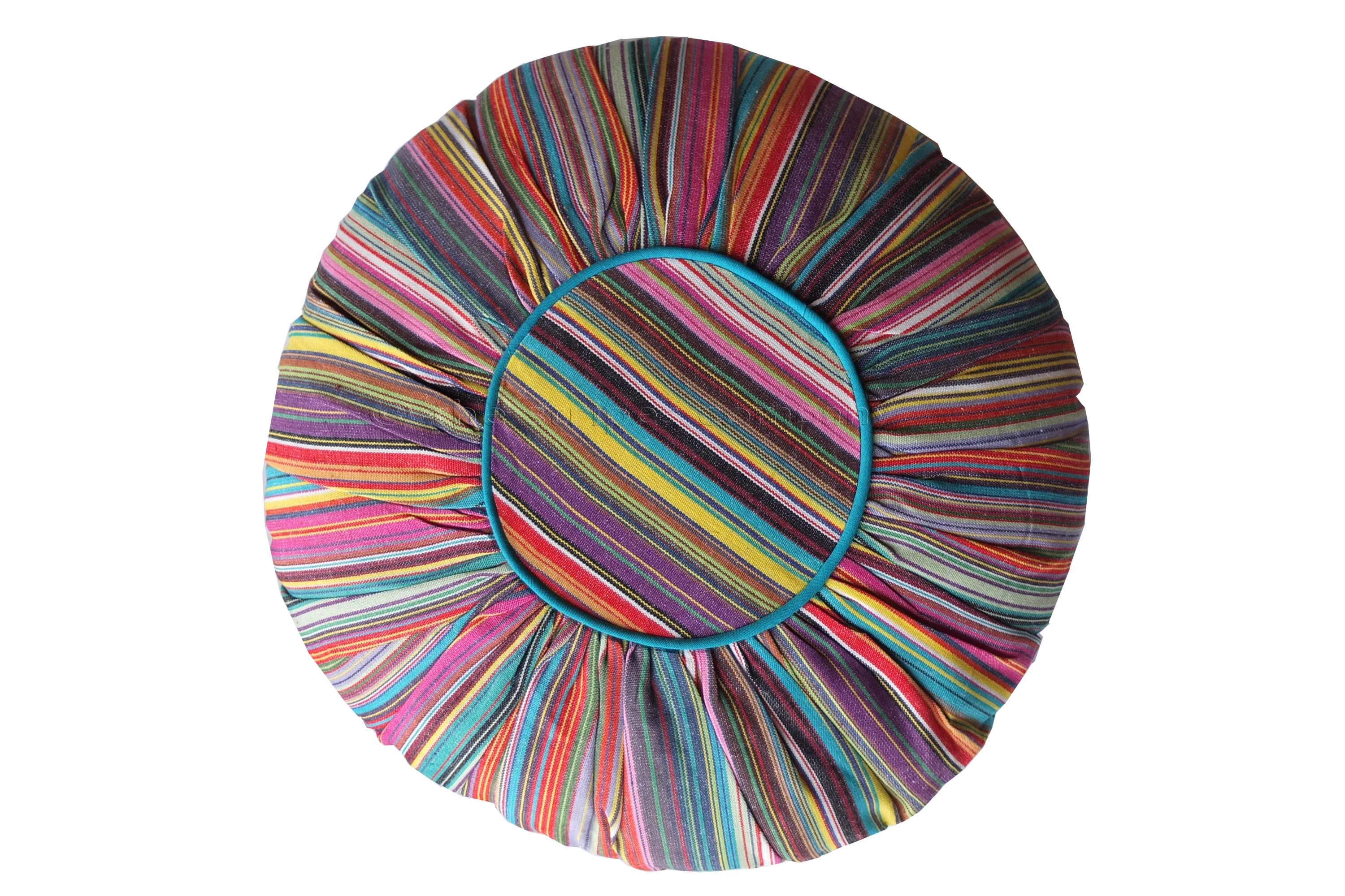 Roiund Gathered Cushions | Multi Stripe Circular Cushion with Turquoise Piping