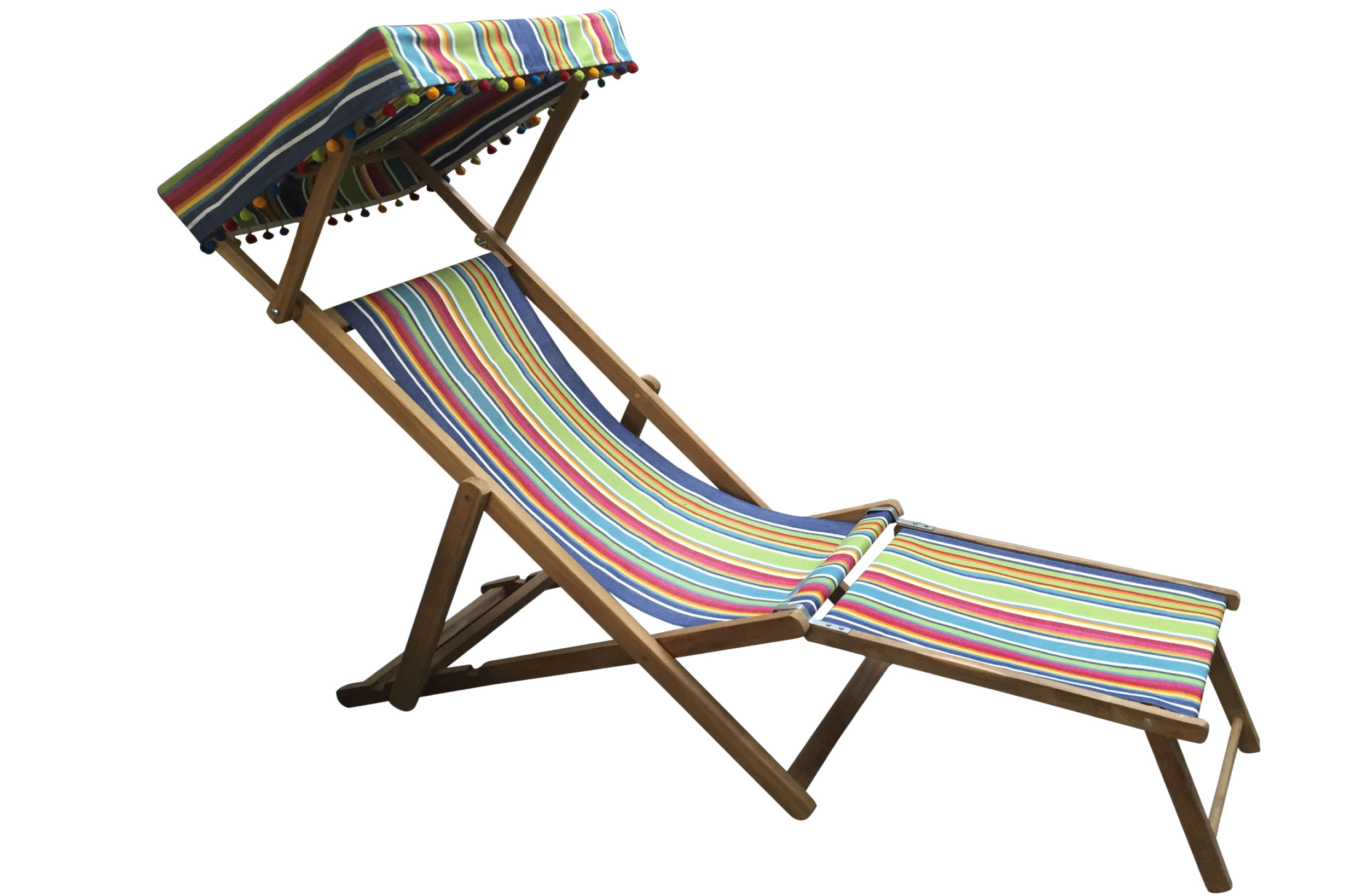 Canopied Deckchair with Footstool blue, green, red stripes