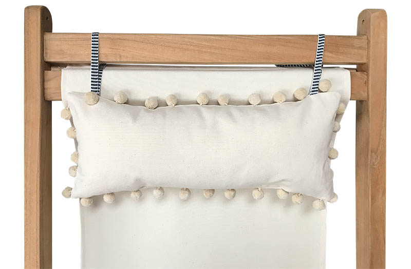 Cream Deckchair Headrest Cushions | Cream Tie on Pompom Headrest Pillow cream