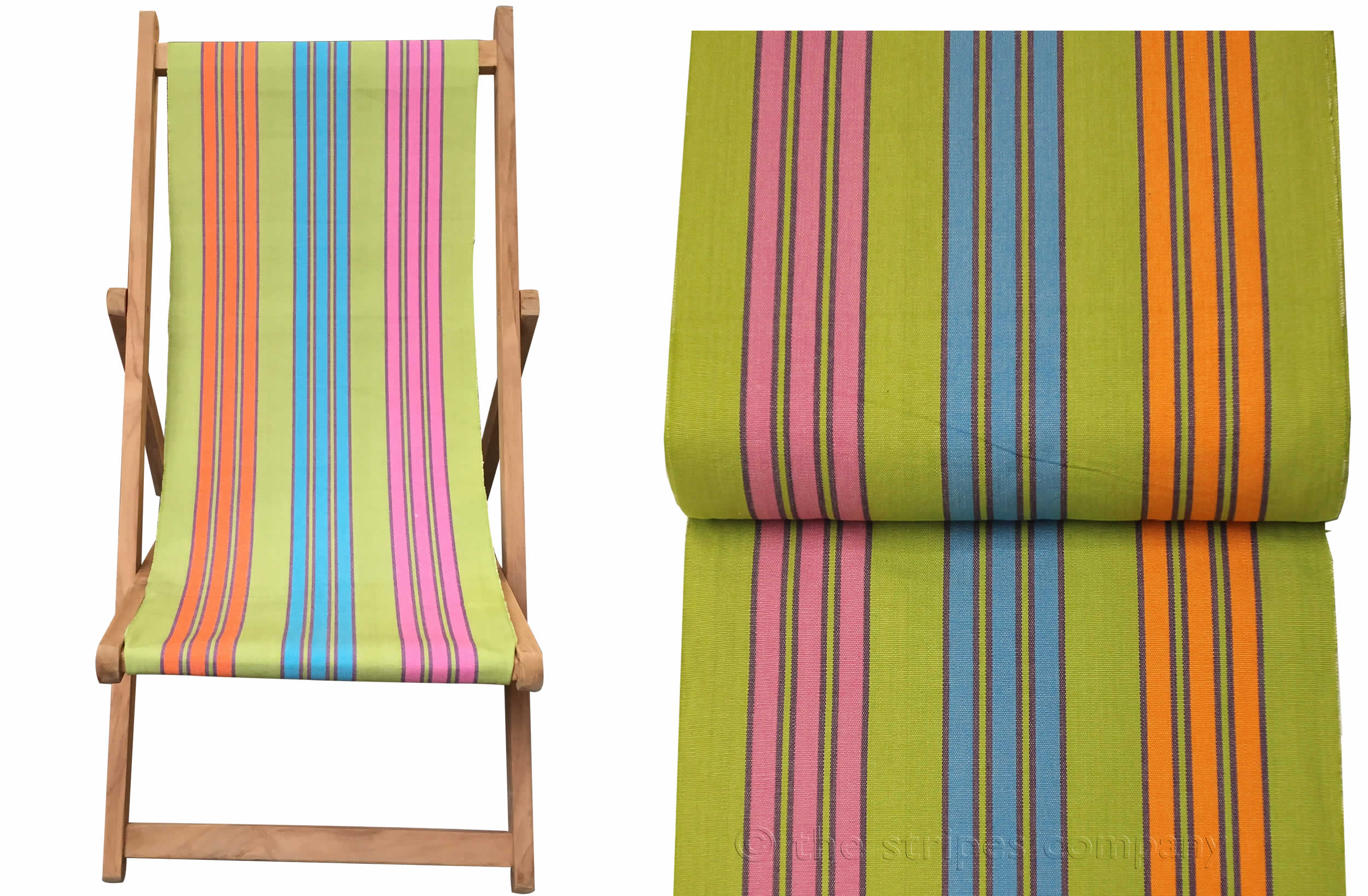 Teak Deck Chairs green, turquoise, pink stripes