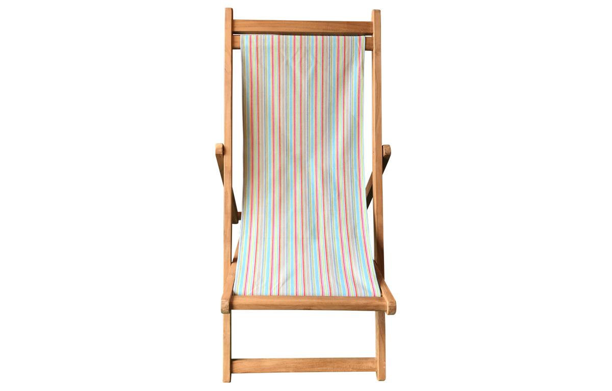 Cricket Stripe Deck Chair - Premium Teak Deck Chairs