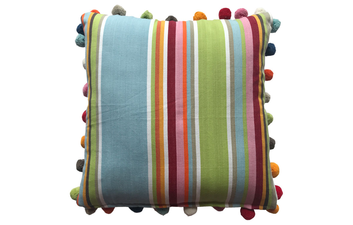 Pale Blue and Taupe Stripe Pompom Cushion 50x50cm