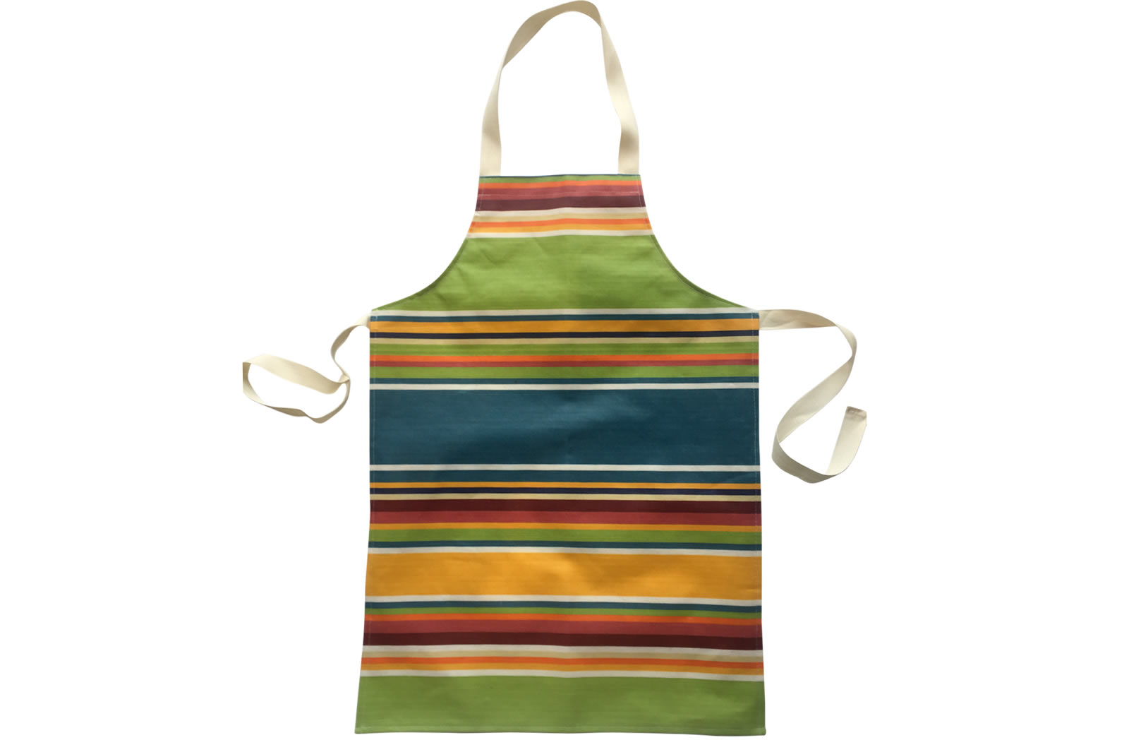 Oilcloth PVC Apron for Children in yellow, pale green and sky blue stripes