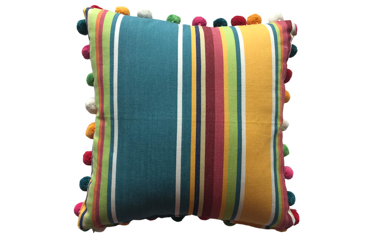 50x50cm Yellow, Pale Green and Sky Blue Striped Pompom Cushion