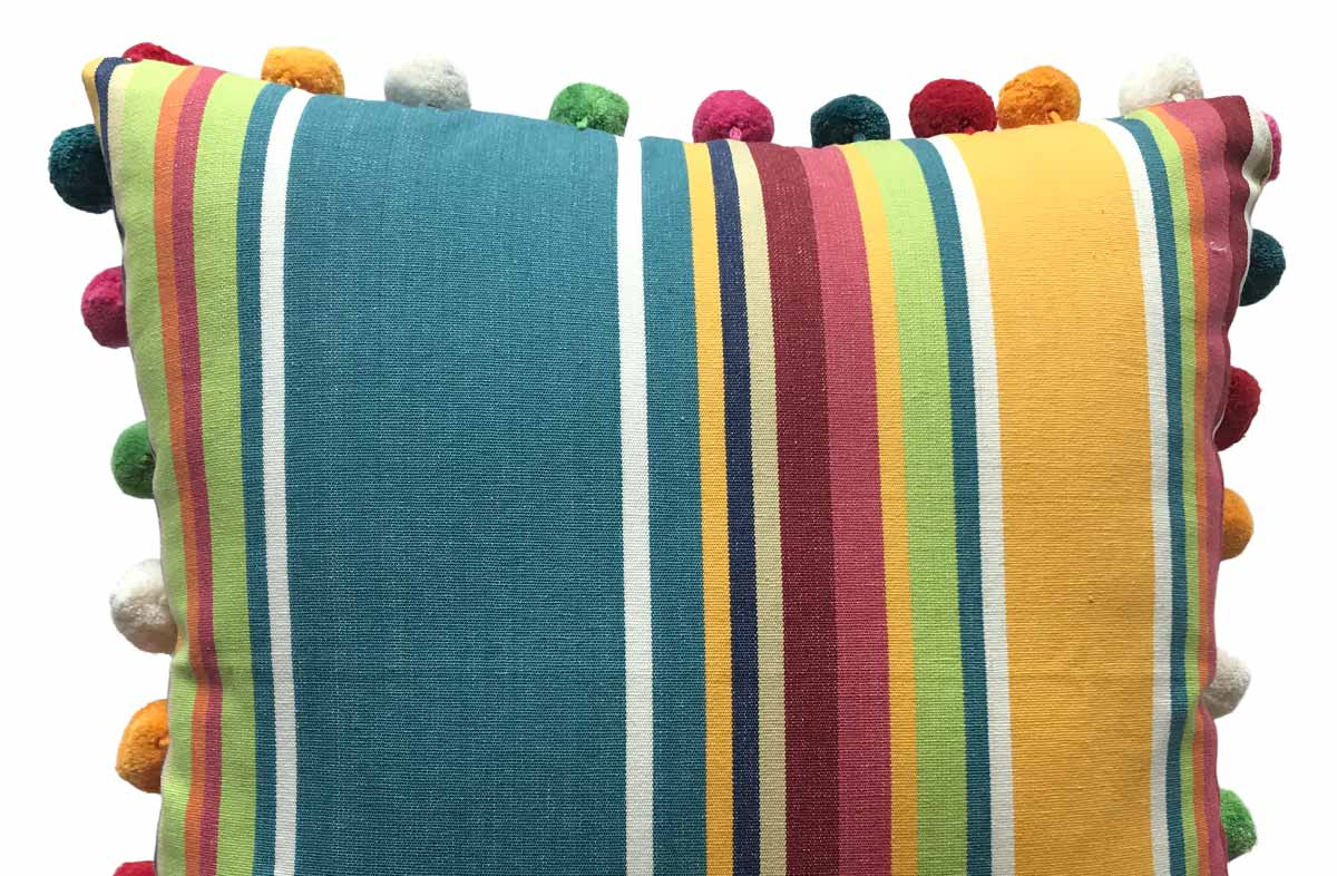 yellow, green, blue - 50x50cm Striped Pompom Cushions