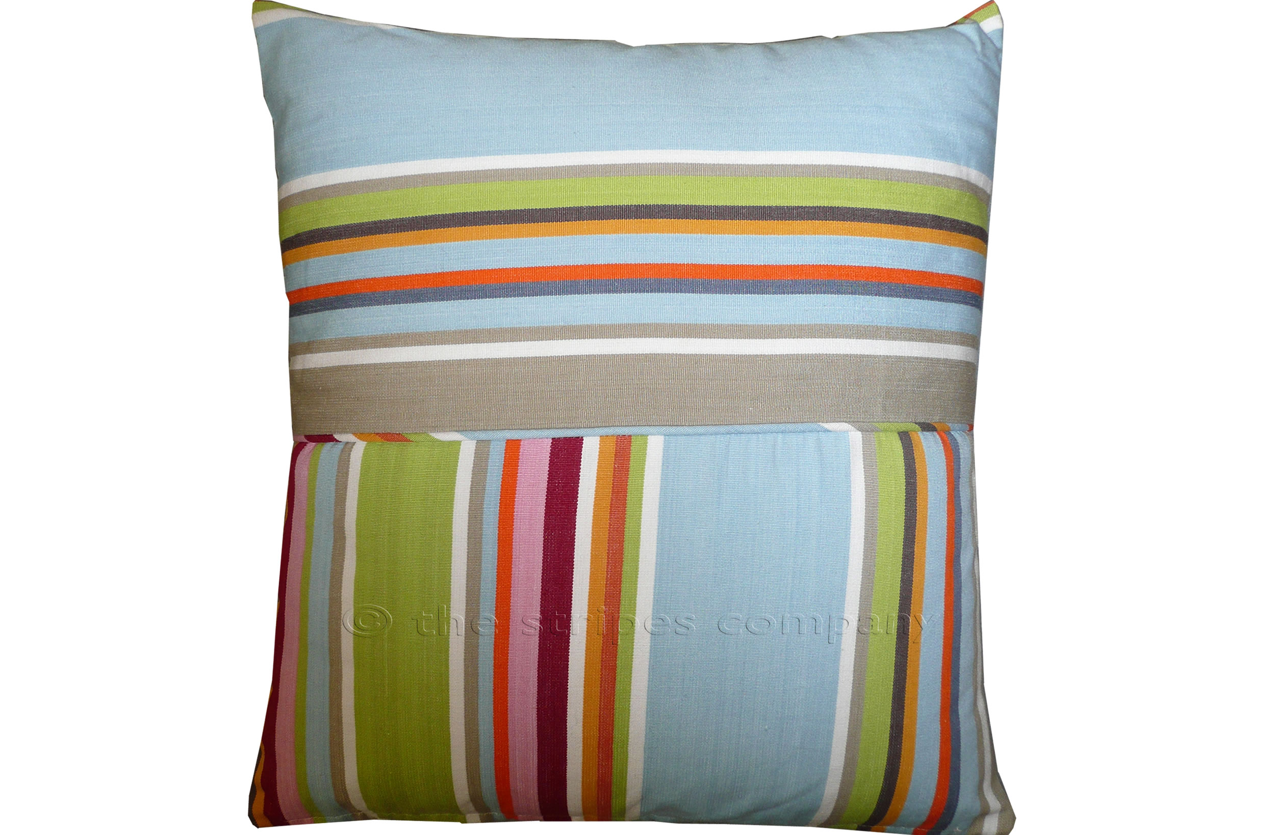 Duck Egg Blue Striped Cushions | Square Piped Cushions