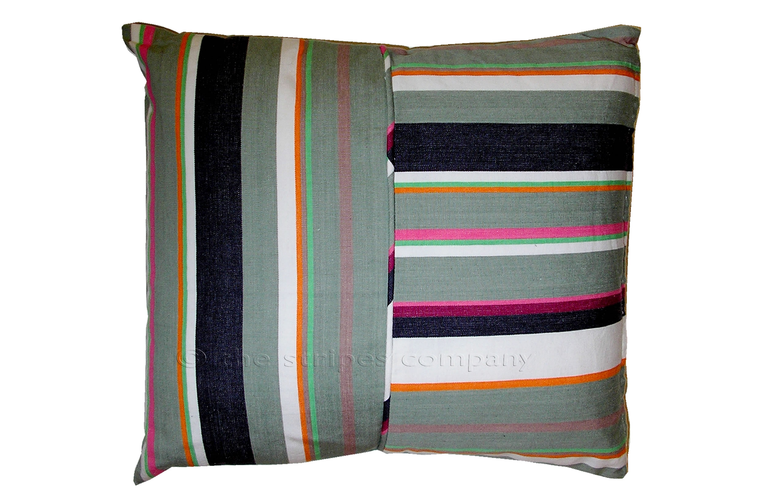 grey, white, lime - Striped Piped Cushions | Square Piped Cushions