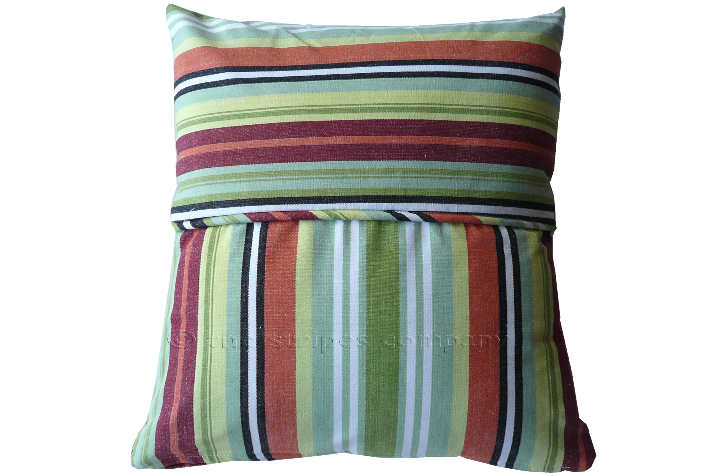 Green Striped Piped Cushions | Square Piped Cushions Egg and Spoon Stripes