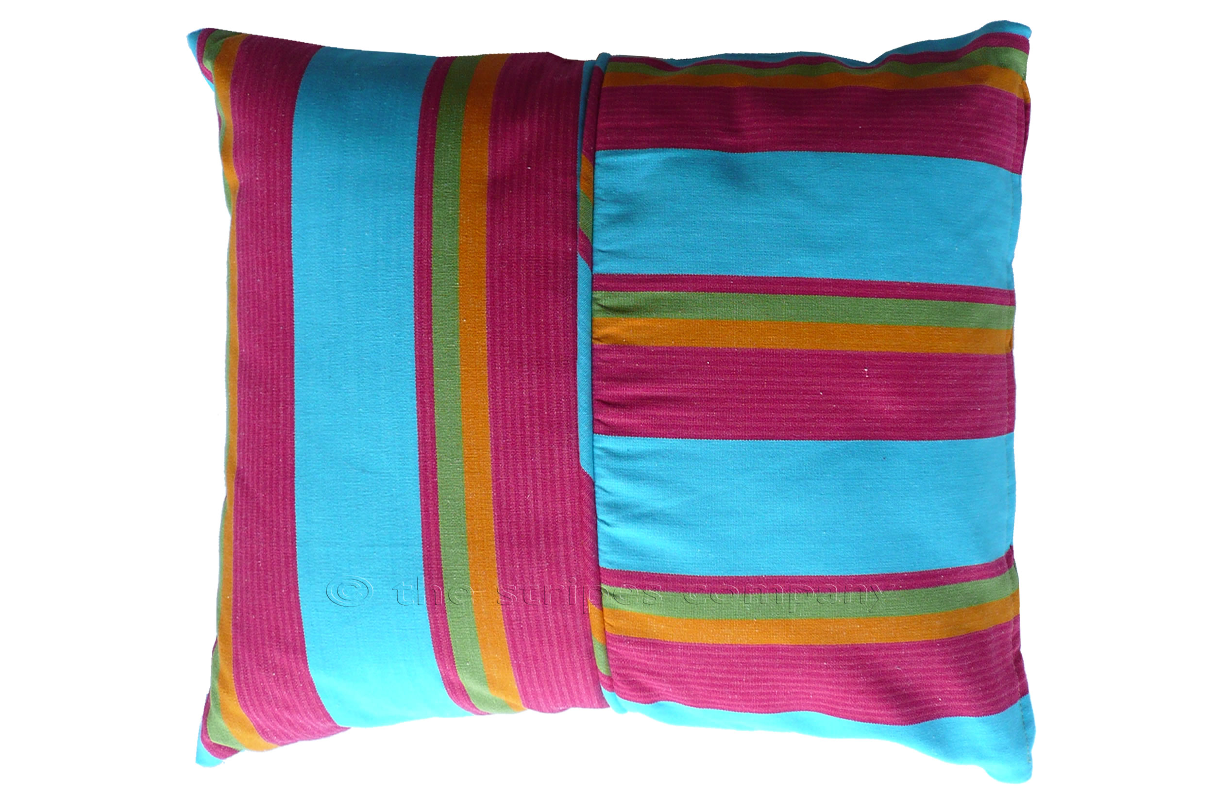 turquoise, pinky red, yellow - Striped Piped Cushions | Square Piped Cushions
