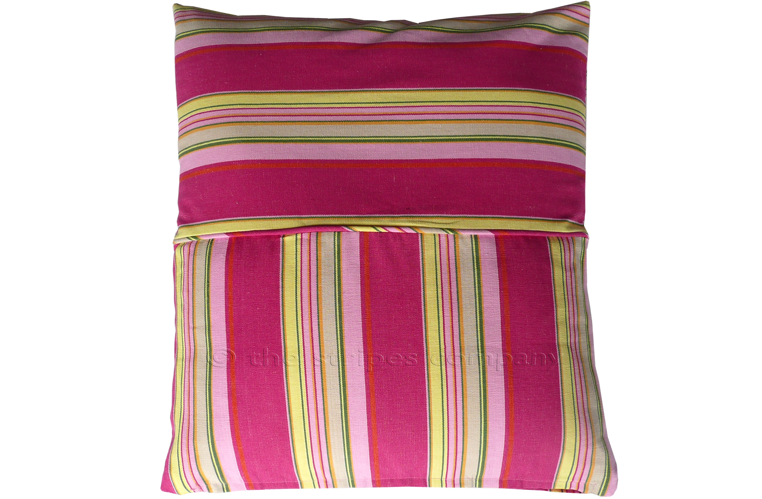 pink, lemon, yellow - Striped Piped Cushions | Square Piped Cushions