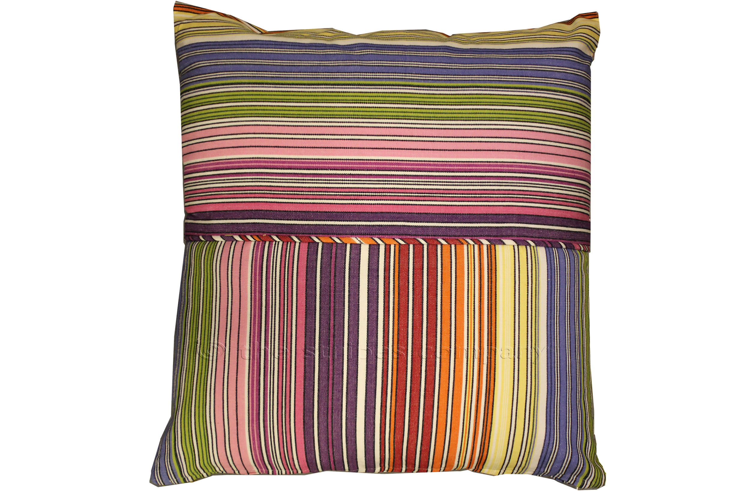 Striped Piped Cushions | Square Piped Cushions narrow rainbow multi stripe, white