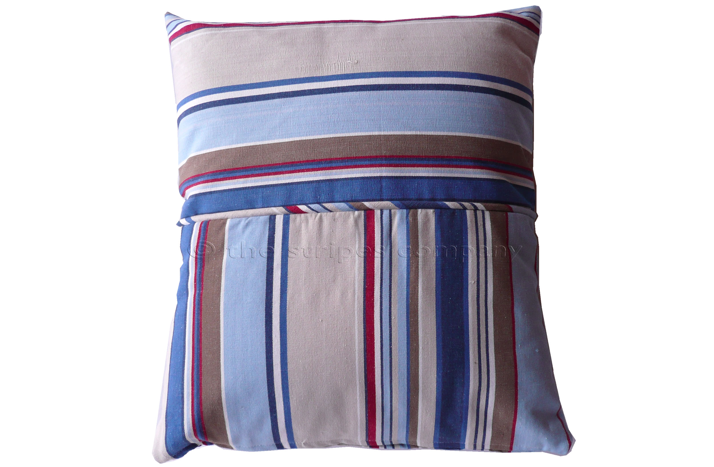 Pale Blue Striped Piped Cushions | Square Piped Cushions Trapeze Stripes