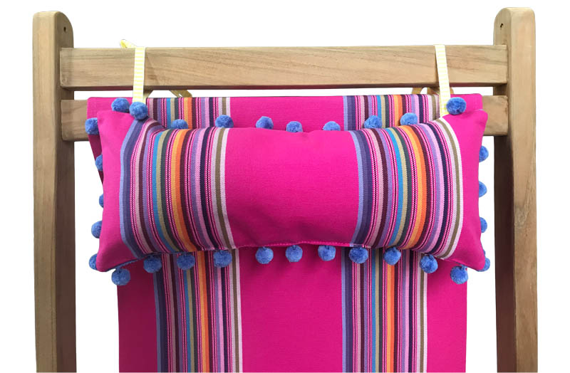 Bright Pink With Rainbow Stripes Deckchair Headrest Cushions | Tie on Pompom Headrest Pillow