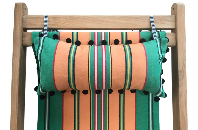 Deckchair Headrest Green, Terracotta, Red, Black Stripes | Tie on Pompom Headrest Pillow
