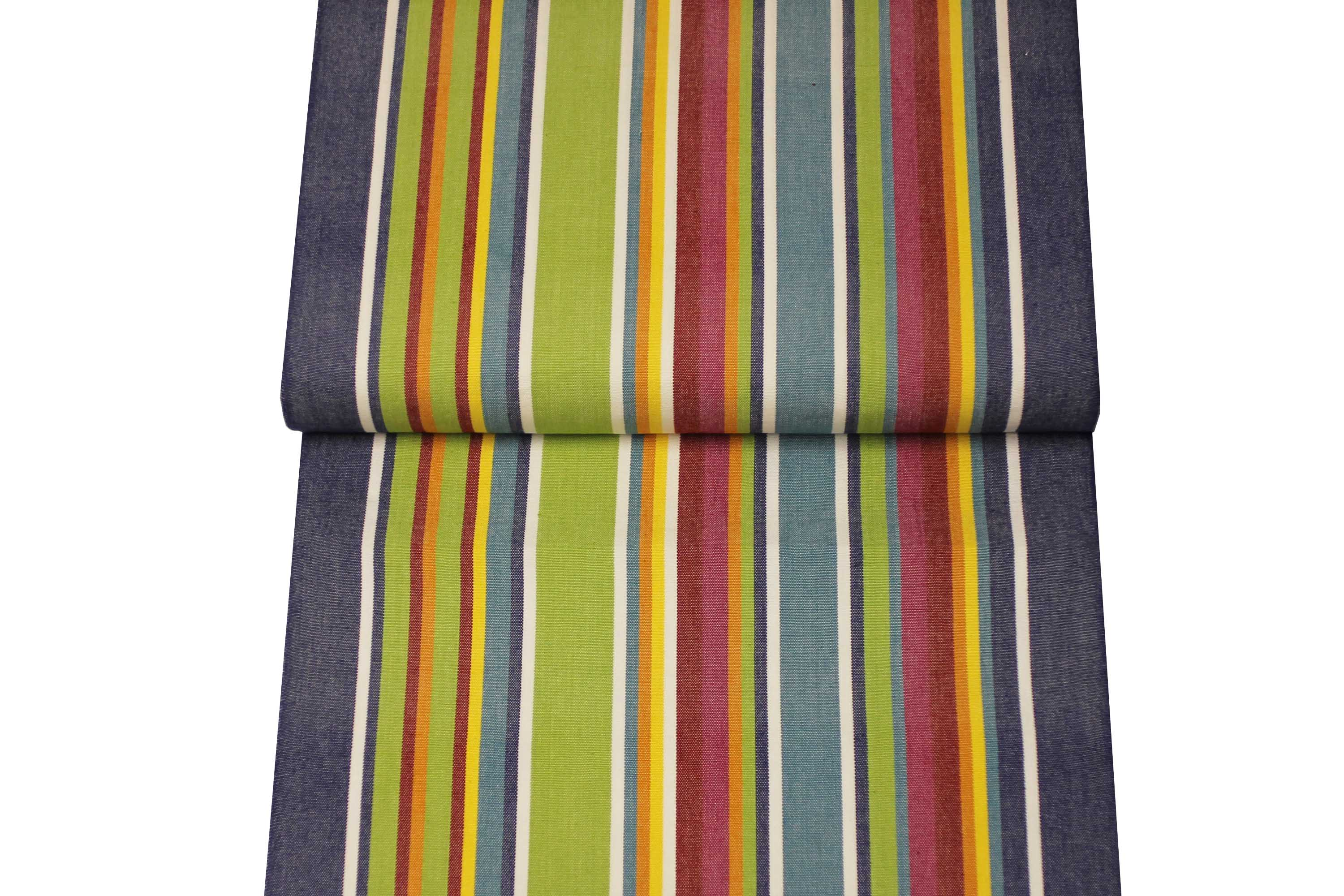 Striped Deckchair Canvas Fabric Strong in Blue, Green, Red, Yellow Stripes