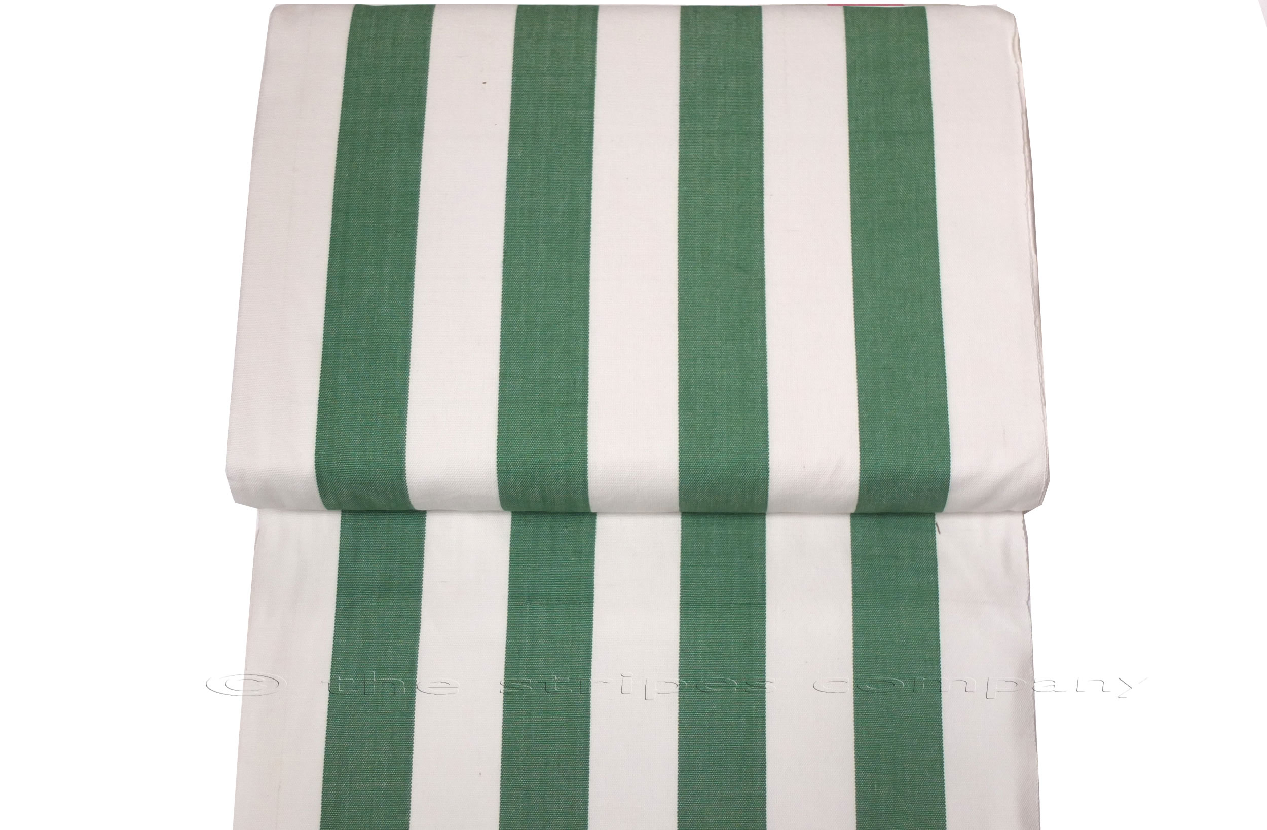 Green And White Clic Striped Deckchair Canvas Fabric Thick Weave