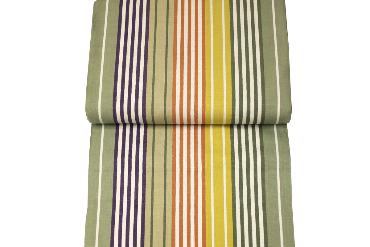 Striped Deckchair Canvas Fabric Sage Green, Purple, Mustard Stripes