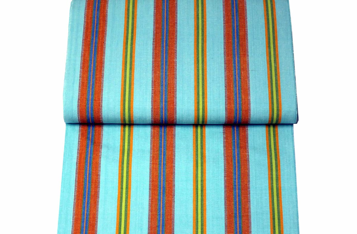 Turquoise Deckchair Canvas Fabric - Petanque Stripe