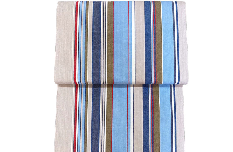 Pale Blue, Grey Stripe Deckchair Canvas Fabric - Trapeze Stripe