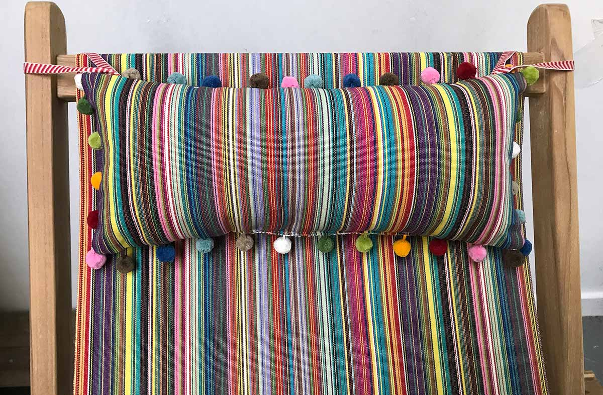 Multi Stripe Deckchair Headrest Cushions | Tie on Pompom Headrest Pillows