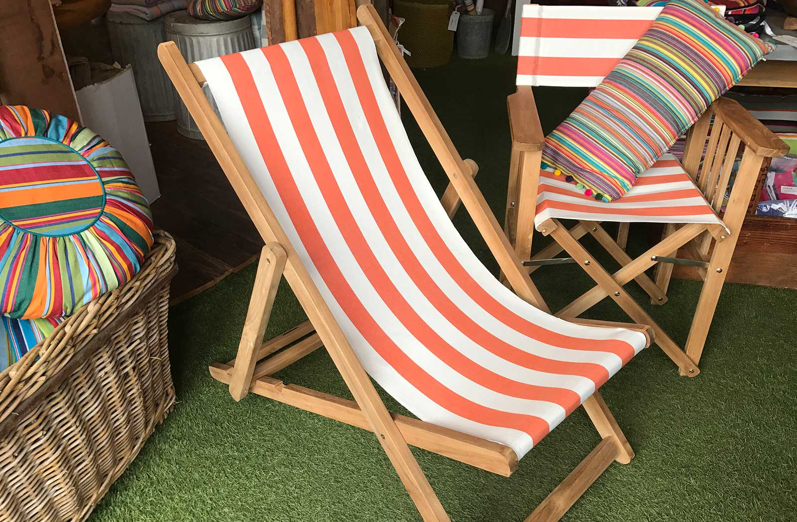 orange white- Deckchairs | Buy Folding Wooden Deck Chairs