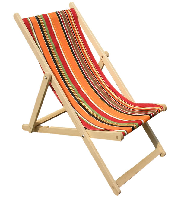 Deckchair orange black stripes
