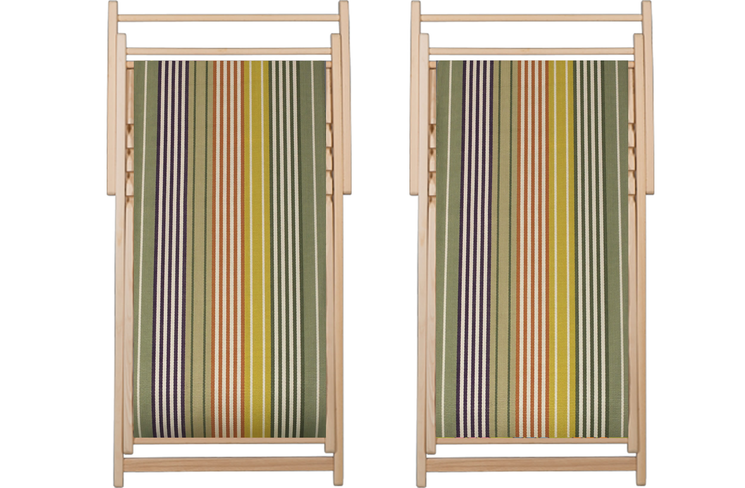 Sage Green Deckchairs | Wooden Folding Deck Chairs Boules Stripes