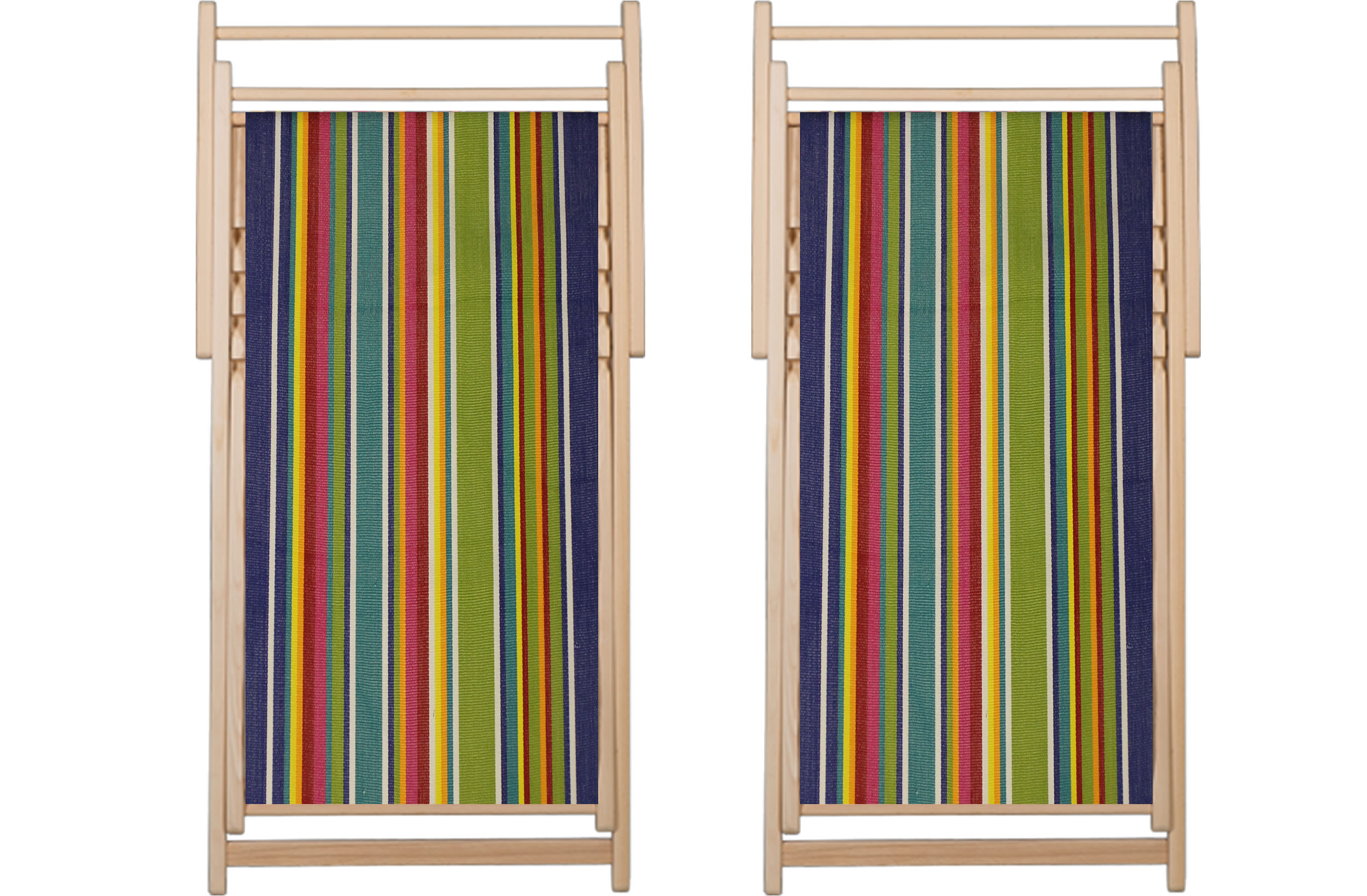 Striped Deckchair Canvas Fabric Strong In Blue Green Red