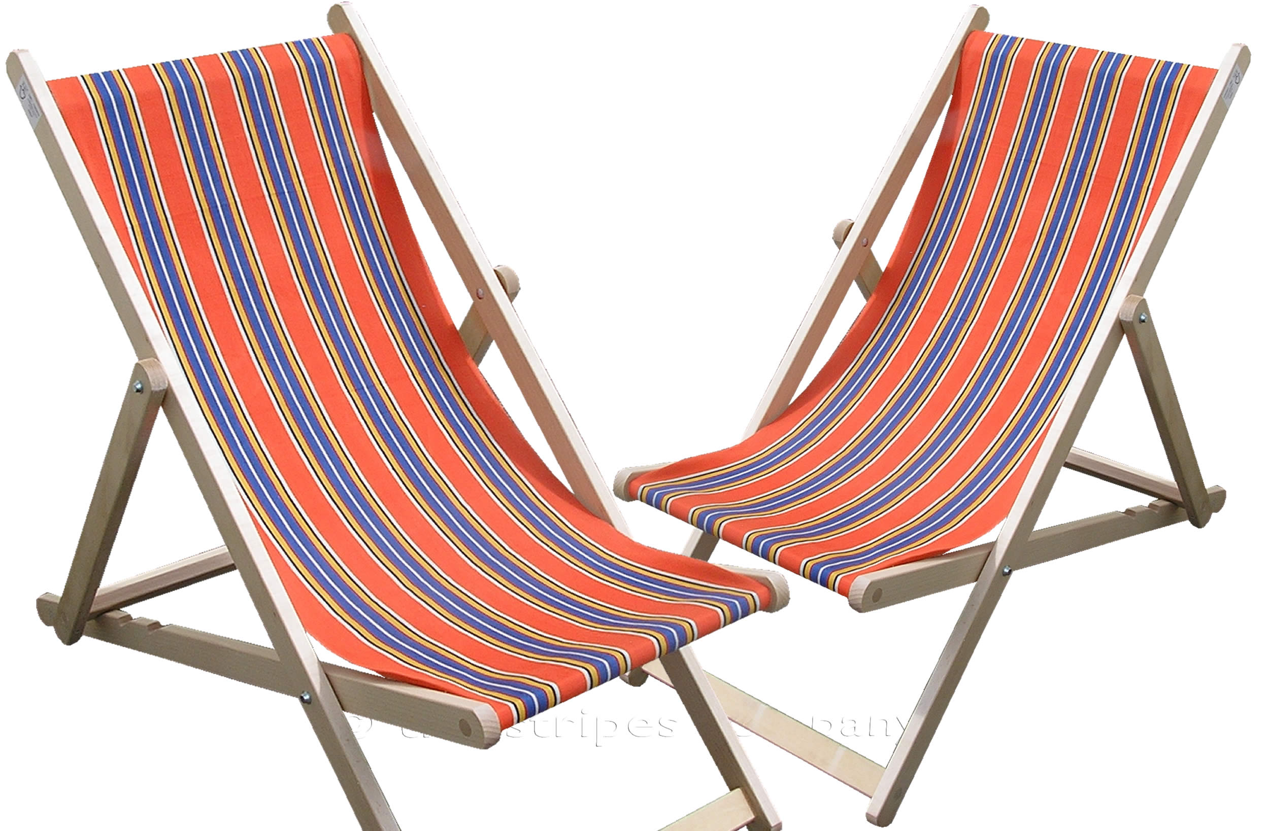 Burnt Orange Deckchairs | Wooden Folding Deck Chairs Jazz Stripes