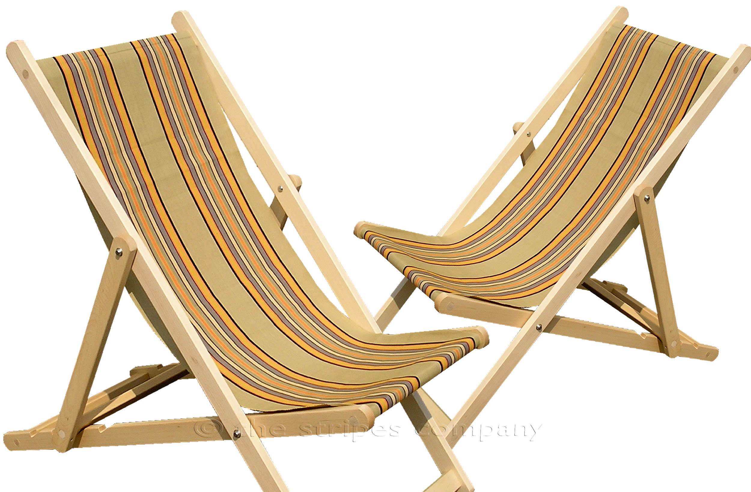 Khaki Deckchairs | Wooden Folding Deck Chairs Kickball Stripes