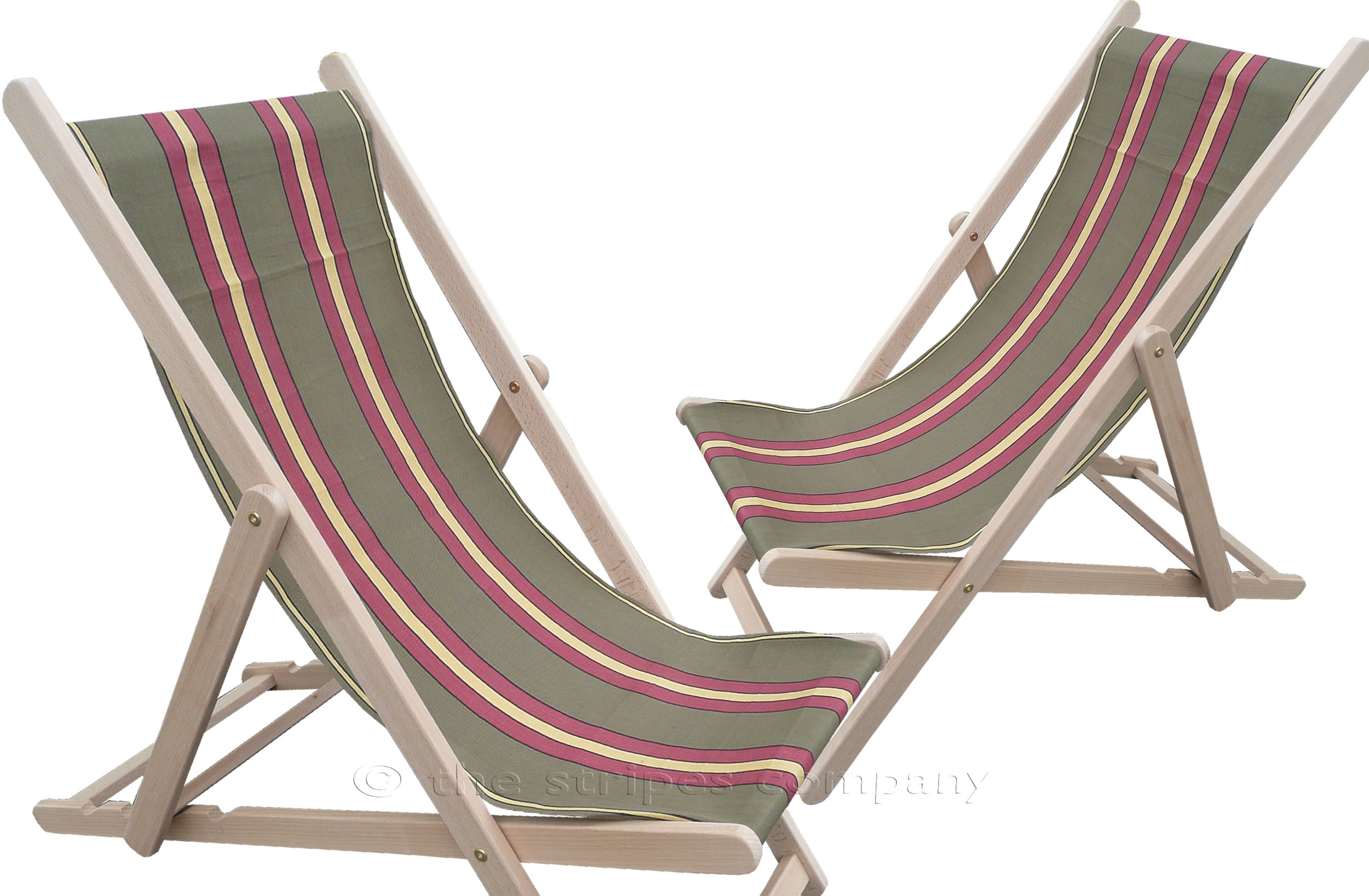 Khaki Deckchairs | Wooden Folding Deck Chairs Kung Fu Stripes