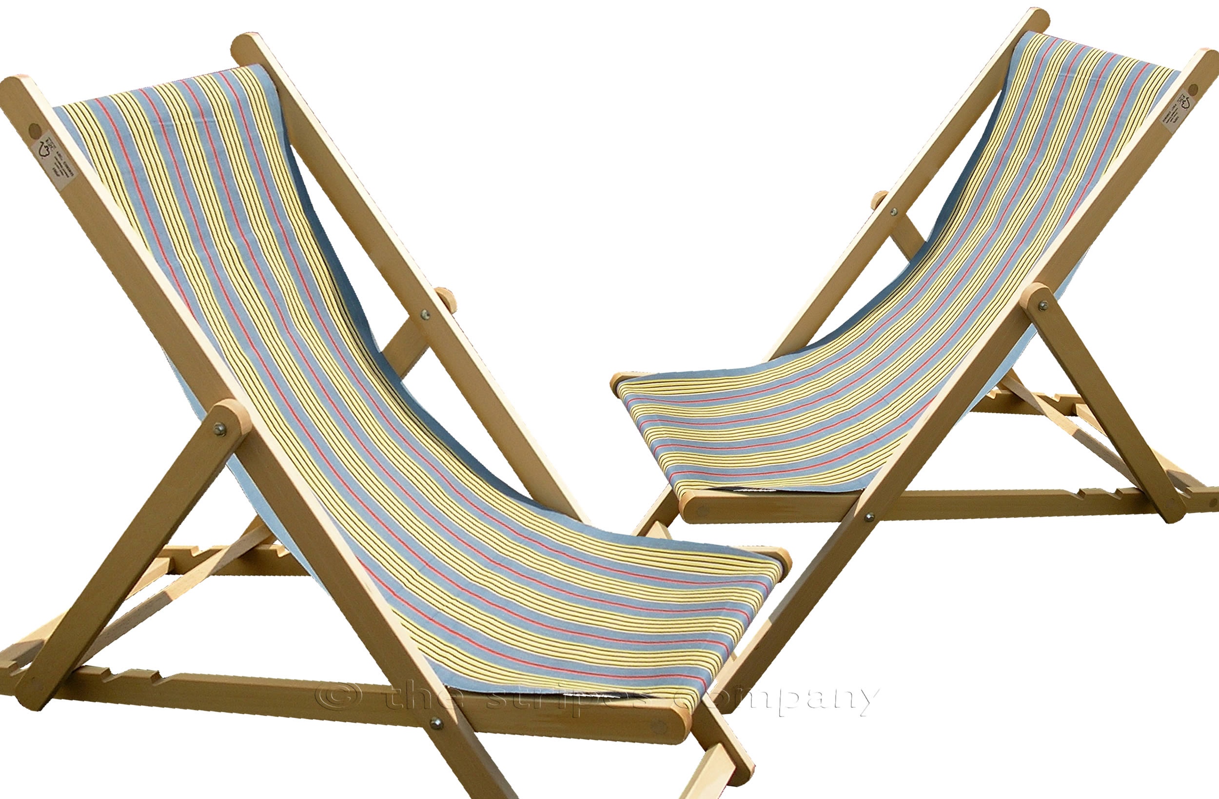 Sky Blue Deckchairs | Wooden Folding Deck Chairs Majorette Stripes