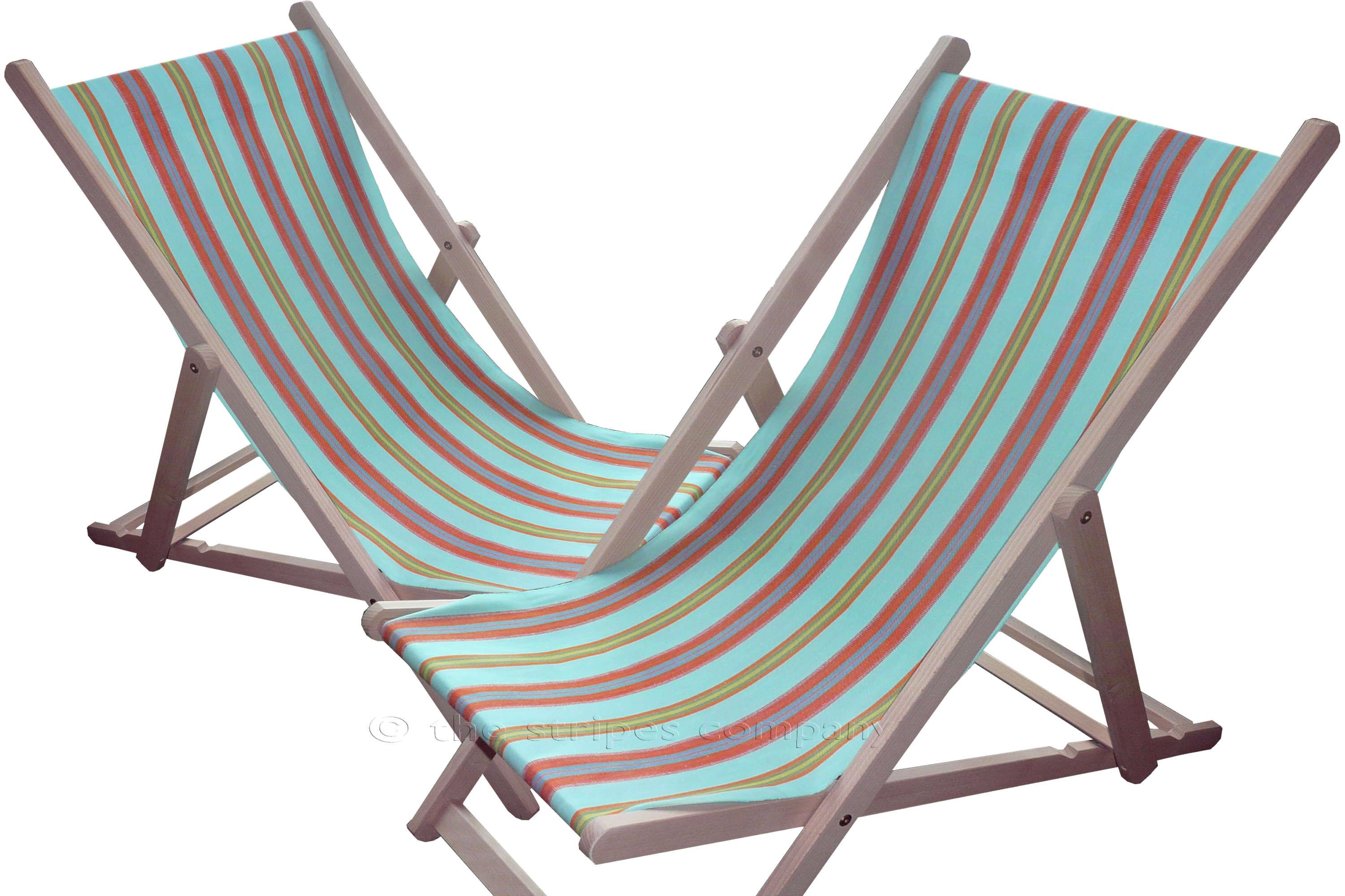 Turquoise Deckchairs | Wooden Folding Deck Chairs - Petanque Stripes