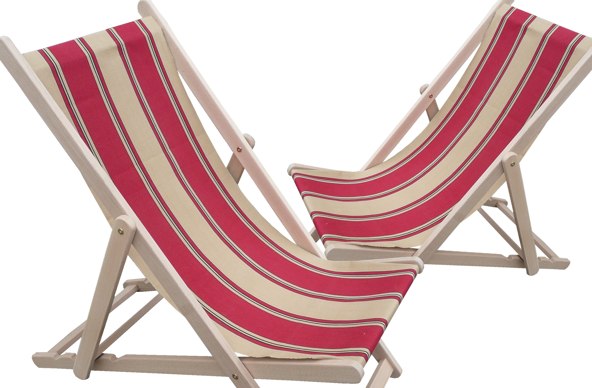 Red Deckchairs | Folding Wooden Deck Chairs - Steeplechase Stripes