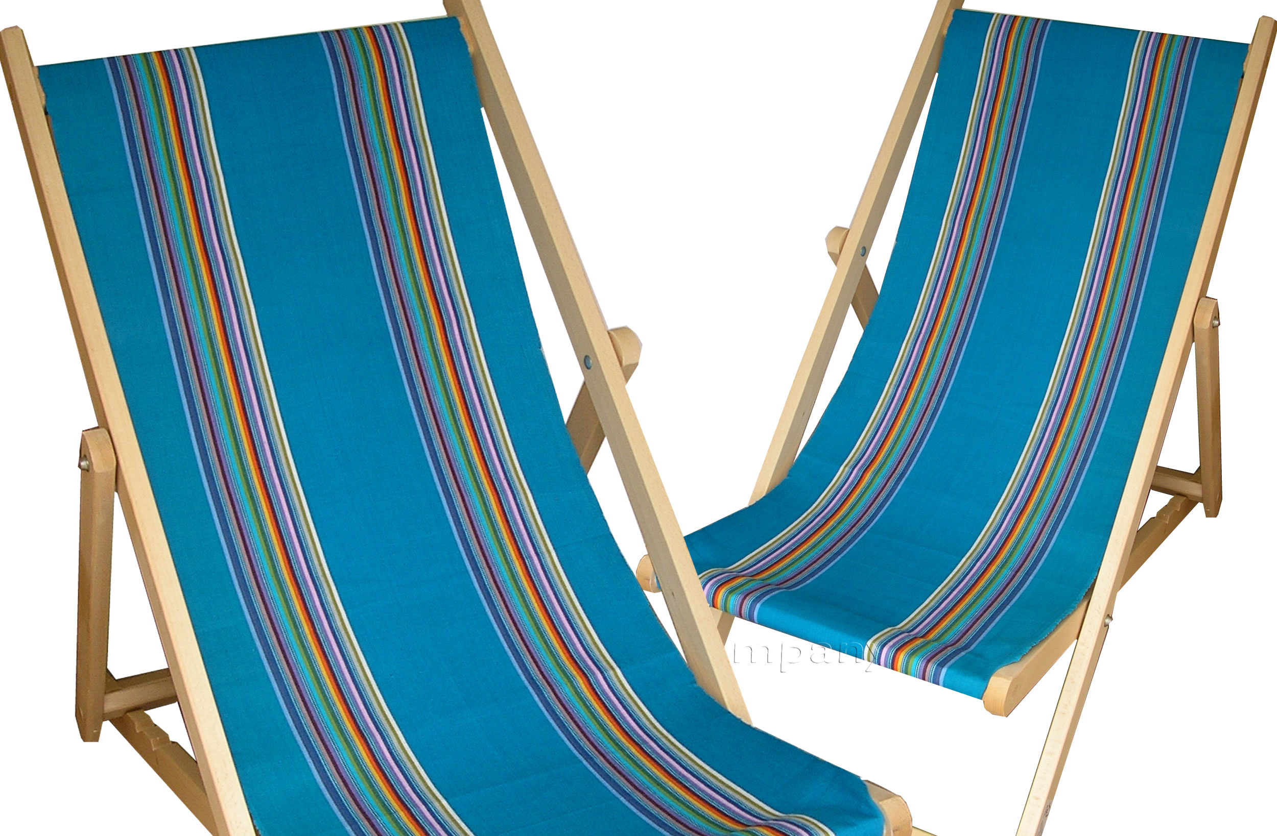 Dark Turquoise Deckchairs | Wooden Folding Deck Chairs Swimming Stripes