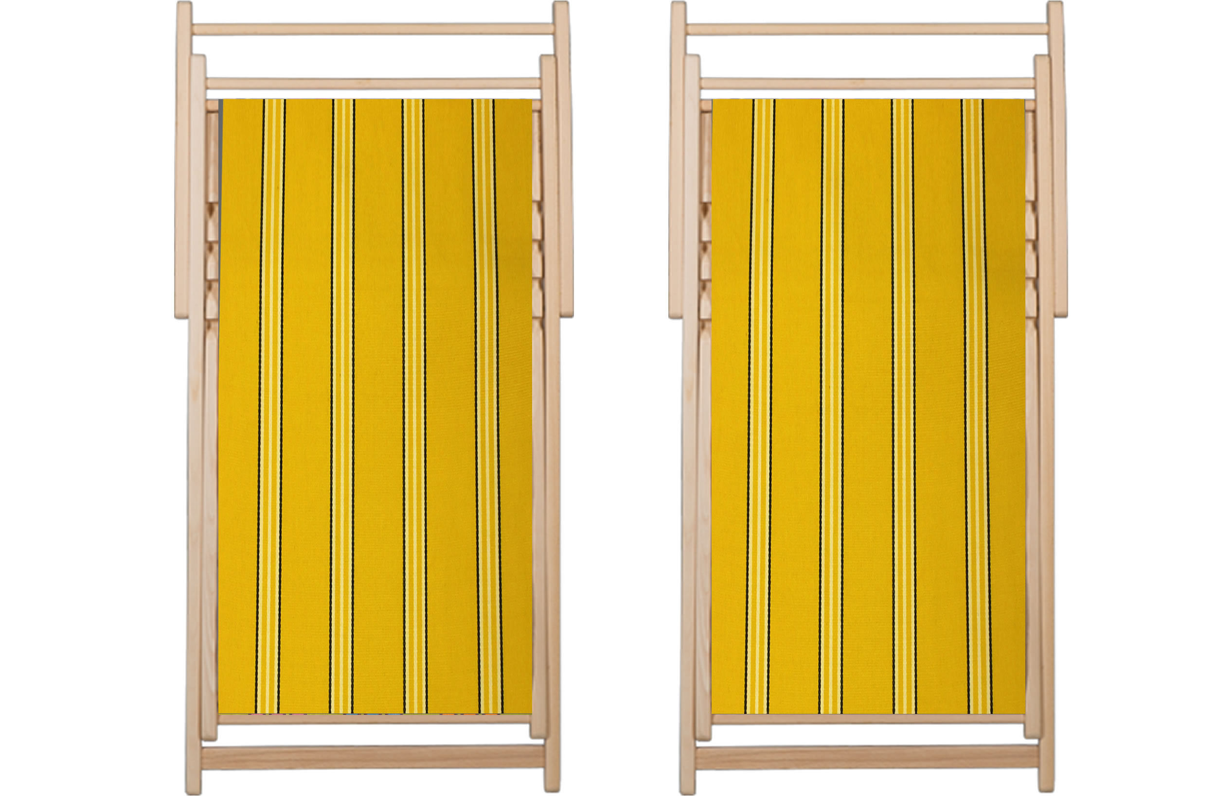 yellow, white, black- Classic Striped Deckchair Canvas Fabric - Thick Weave