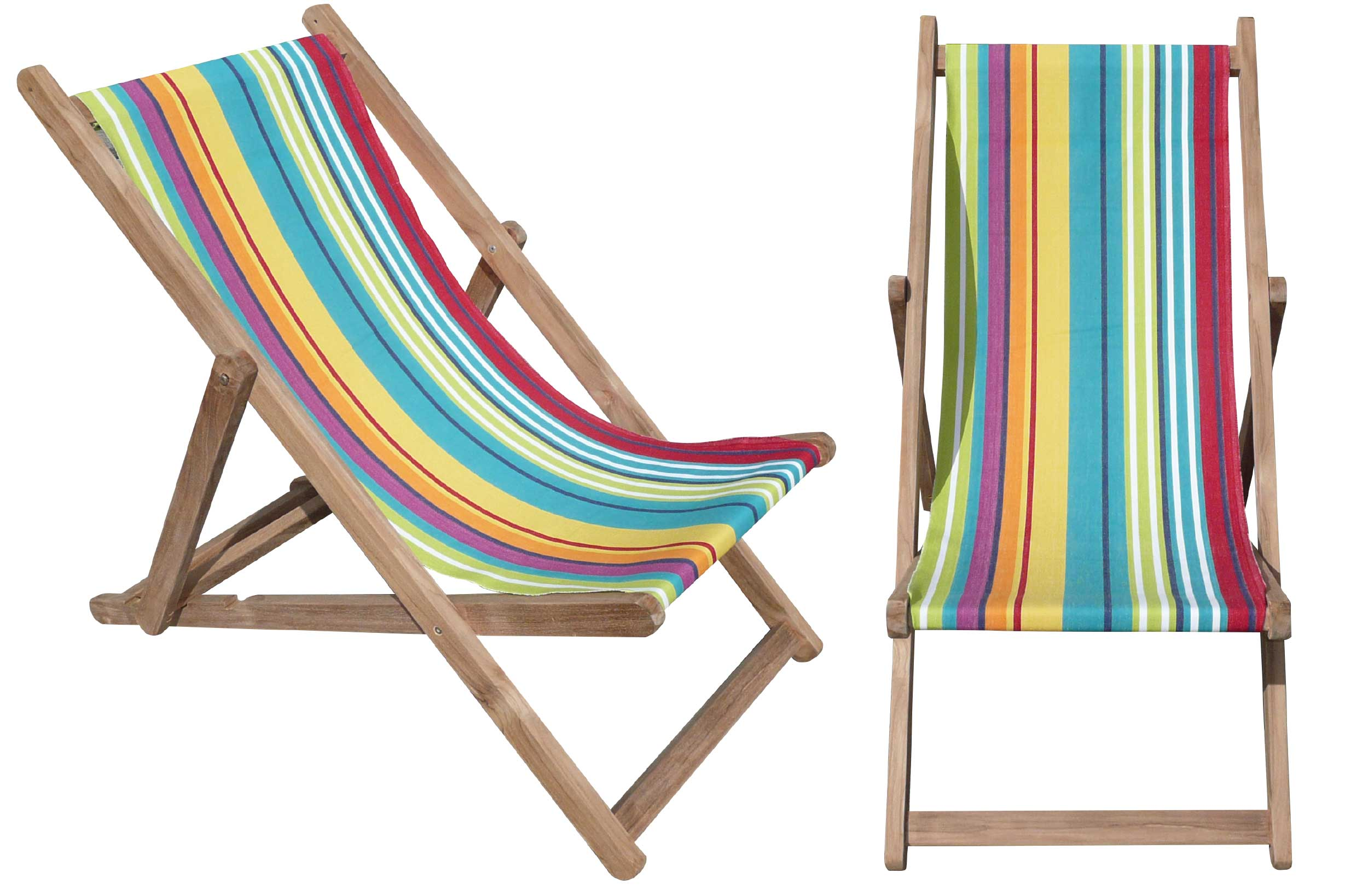 Turquoise Deckchairs | Wooden Folding Deck Chairs Aerobics Stripes
