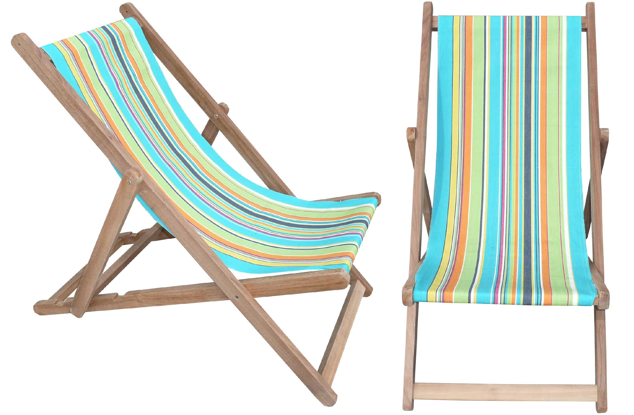 Turquoise Deckchairs | Wooden Folding Deck Chairs Athletics Stripe