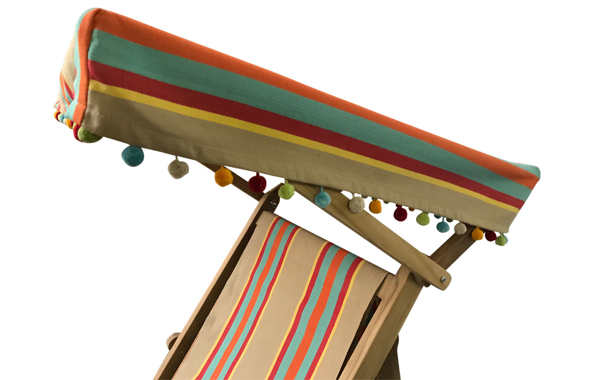 Edwardian Deckchair with Canopy and Footstool in fawn, terracotta, turquoise stripes