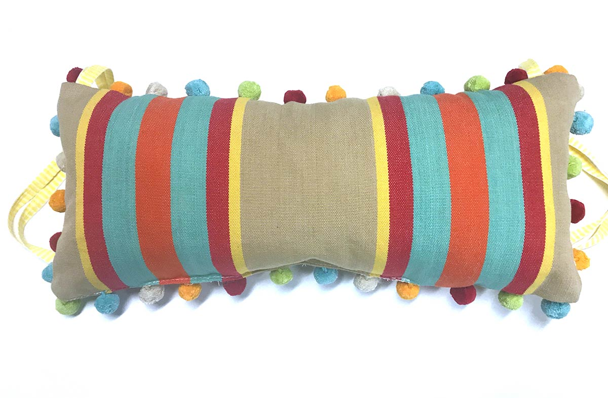 Dice Deckchair Headrest Cushions | Tie on Pompom Headrest Pillow fawn, terracotta, turquoise