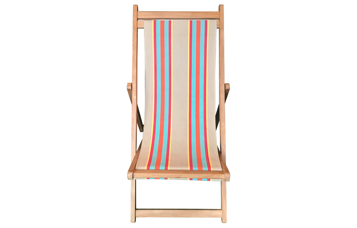 Premium Deck Chair with vintage fawn, terracotta, turquoise stripes
