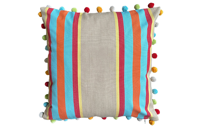 Fawn, Terracotta and Turquoise Striped Pompom Cushion 40x40cm