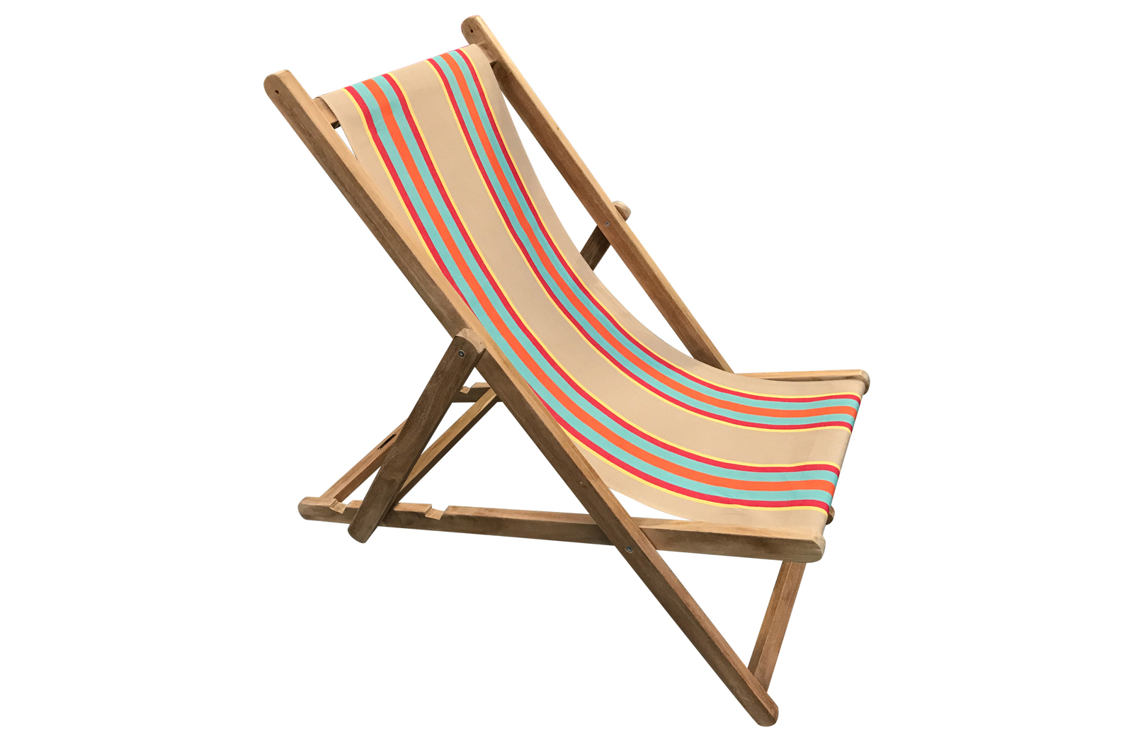 Deckchair fawn, terracotta, turquoise  stripes