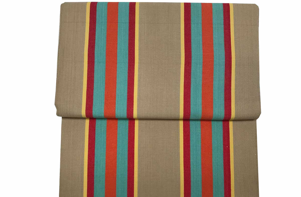Vintage Deckchair Canvas fawn, terracotta, turquoise stripes