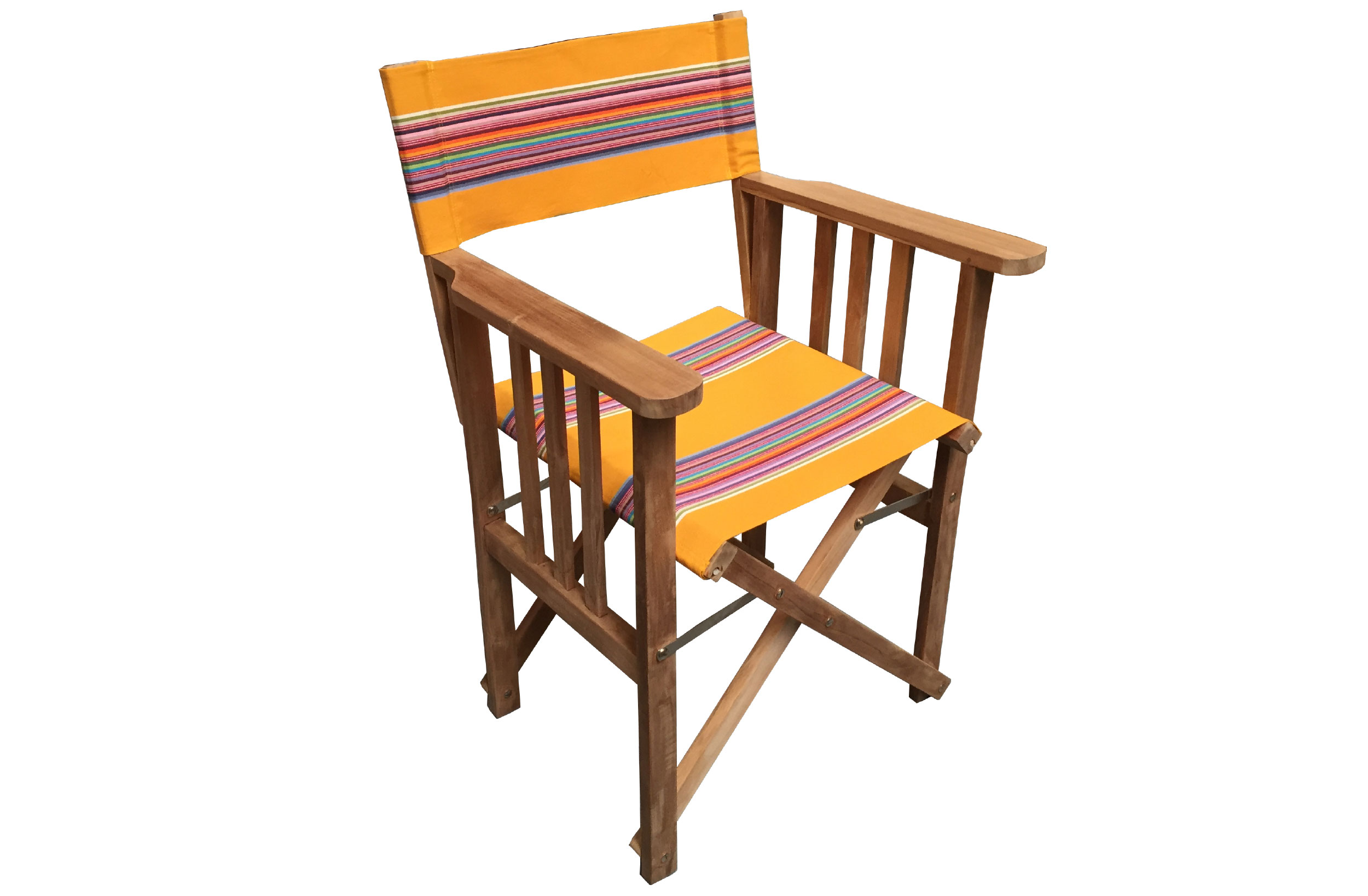 Teak Directors Chair - Butterfly Yellow Stripe