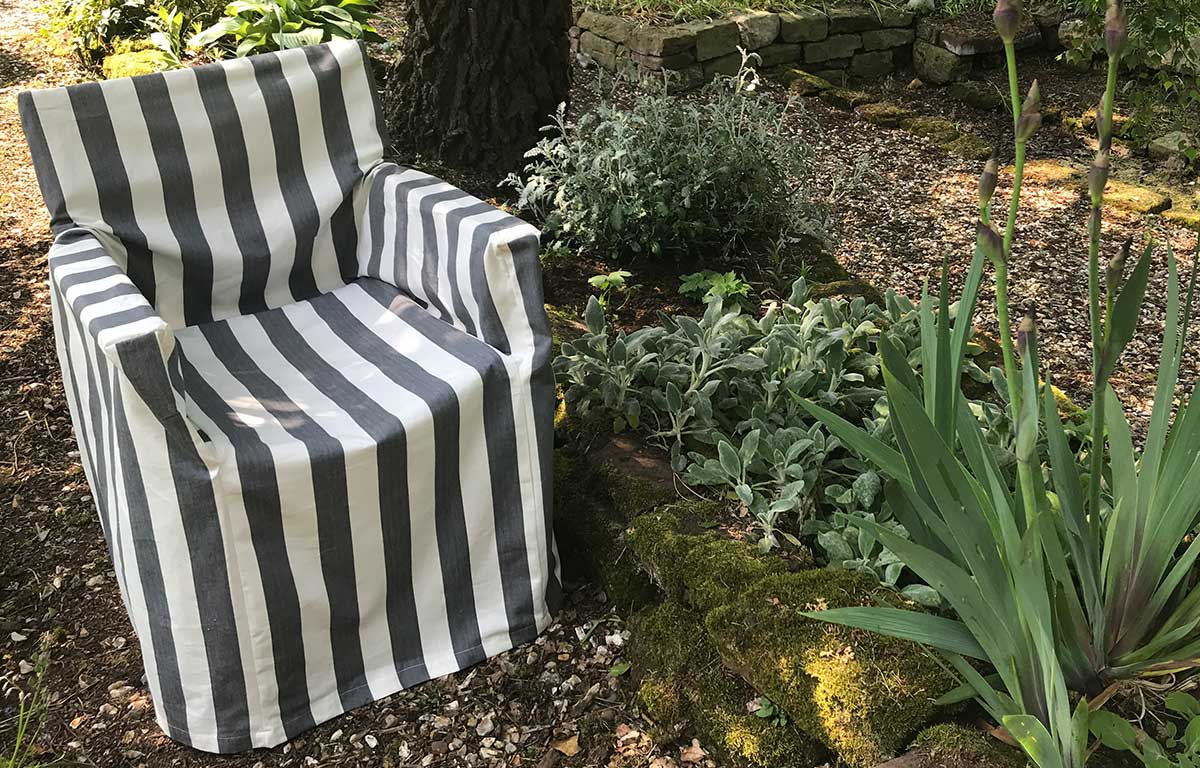 Charcoal Grey and White Directors Chair Loose Covers
